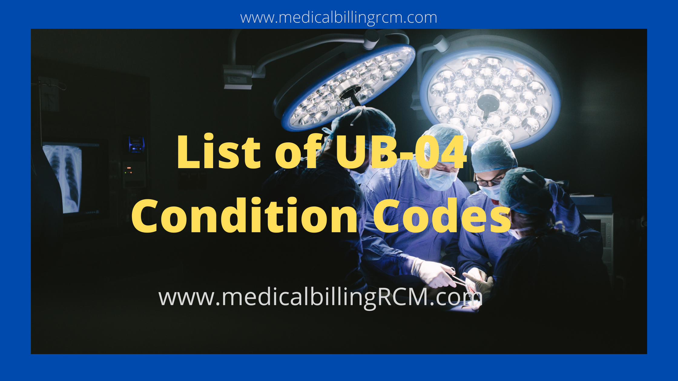 UB 04 condition codes list in medical billing